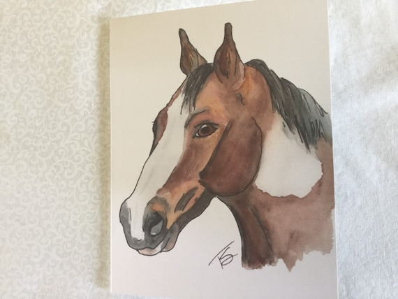 Inked Two Horses Thank You Cards~Black and White Watercolor Note Cards~Horse Friends Greeting Cards~Gift for Horse Lover