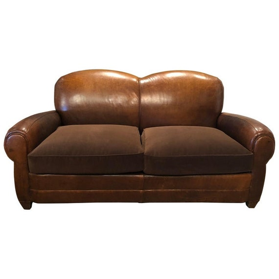Vintage French Mustache Leather Club Sofa