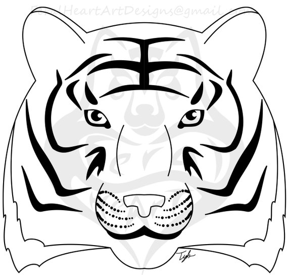 - Simple Tiger Printable Coloring Page By FeralHeartArt Etsy
