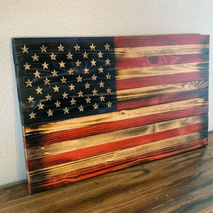 Rustic Wooden Blue Line Flag With Frame And Plywood Back Etsy