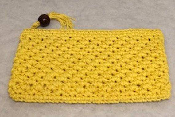 Vintage Handbags | 1960s | Crochet Clutch | Yellow
