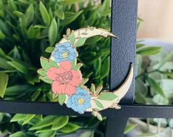 Floral Moon Enamel Pin - Floral Crescent Moon Pin - Flower Pin - Enamel Lapel Pin