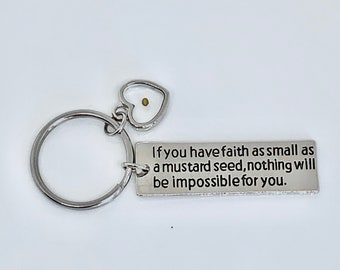 Mustard Seed Faith Charms, Stainless Steel Keychain, Key ring Gift, Resin Artwork Key ring, Engraved Key ring, Charm Key ring