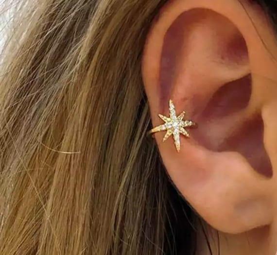 Star Ear Cuff - Gold Ear Cuffs | Silver Ear Cuff | Ear Wraps | Zircon Ear Cuff