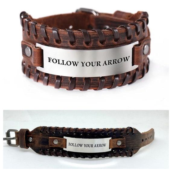 Follow Your Arrow Bracelet - Mens Leather Bracelet, Custom Bracelet, Classic Bracelet, Stylish Bracelets, Bracelets for Dad, Bracelet Gift