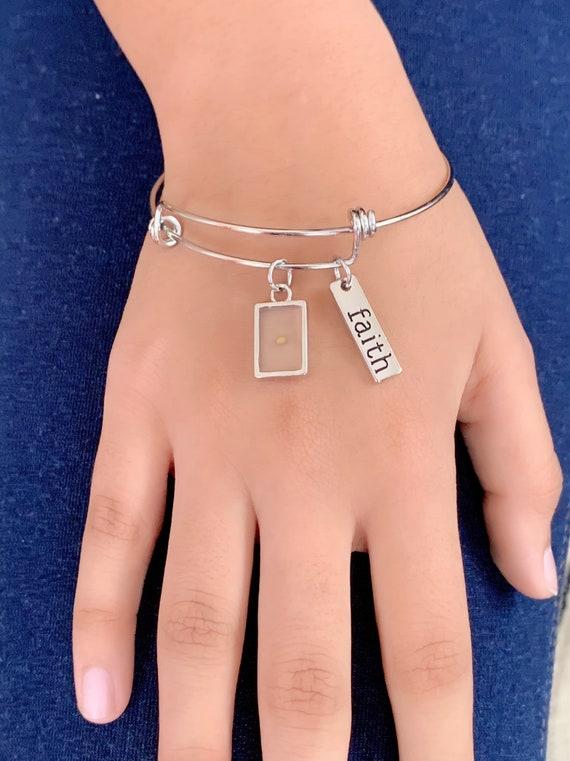 Mustard seed charm, Mustard seed Bracelet, Women Bracelets, Stainless Steel Bracelet, Faith Bracelet, Adjustable Bracelet, Gift for Her