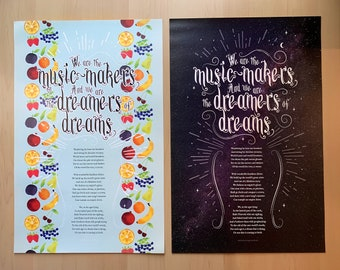 We are the music makers - Willy Wonka & the Chocolate Factory Ode poem 11 x 17 poster