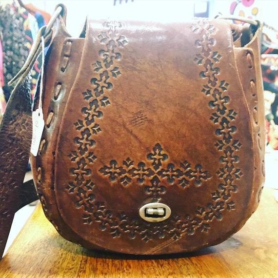 Vintage Hand-Tooled Leather Purse 70's Hippie Boho