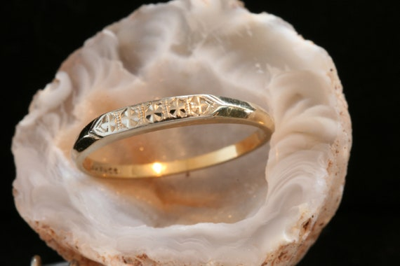 Gold Vintage Wedding Band, Solid 14k Yellow and Wh