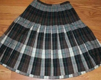 5f8189c59f Vintage Plaid Pleated Skirt Reversible Retro School Girl Skirt