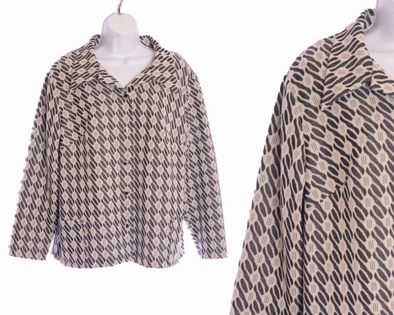 1970s Handmade Wool Overcoat Button Down Abstract