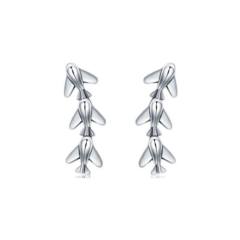 Silver Plane Ear Climber Earrings/ Jet-Setter/ Plane Ear image 0