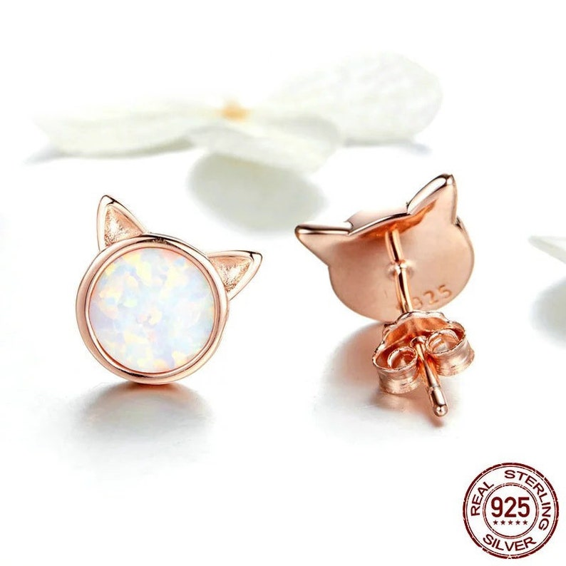 Silver Kitty Cat Earrings Opal Gemstone Cat Studs Minimalist Jewelry Cat Lover Rose Gold Gift for Her