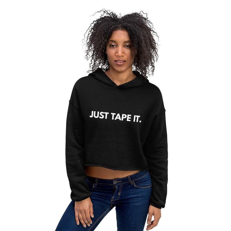 2facb0fe0d174 Just Tape It. Women's Crop Hoodie / Women's Martial Arts Hooded Sweatshirt  / Combat Sports MMA Hoodie/ Athletic Hoodie