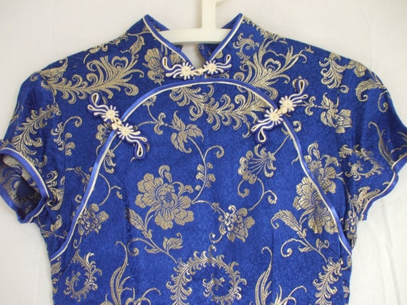 Cheongsam - Chinese Dress - Blue And Gold Satin Br