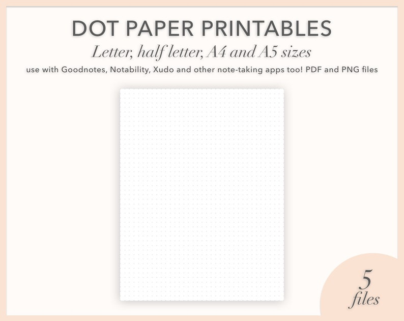 photograph about Printable Bullet Journal Paper named Printable Bullet Magazine Dot Paper, 8.5x11\