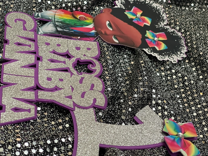 Rainbow Boss Girl Baby Cake Topper  Centerpiece