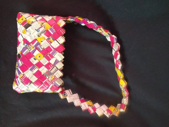 Candy wrapper woven hand bag. Novelty vintage.