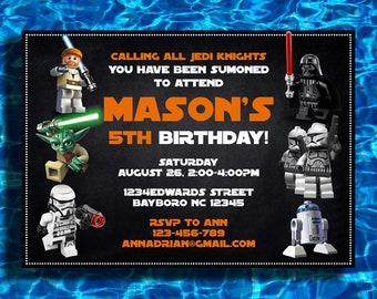 Lego Star Wars Invitation Birthday Party Starwars Invite Invitations Printable Invites Digital Card