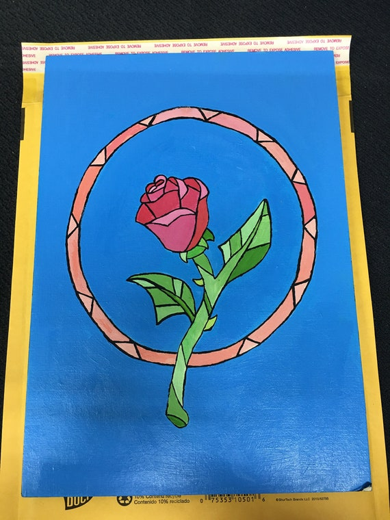 Stain Glass Rose Painting Etsy