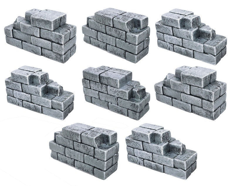 Dungeons and Dragons Warhammer AoS Age of Sigmar Use w Dungeon Tiles or Battle Grids Ruined Brick Walls Wargame Terrain Scatter