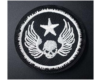 Illicit Martin Wing Skull Dagger Patch Biker Death Embroidered Iron On Applique