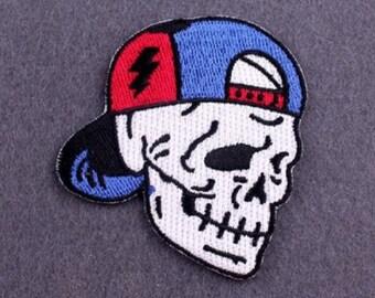 Vintage Black Biker Skull N Crossbones Embroidered Patch Mesh Snapback Hat