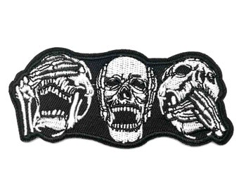 No Evil Skulls Iron-On Patch : Hear See Speak Skeleton Skull Goth Punk