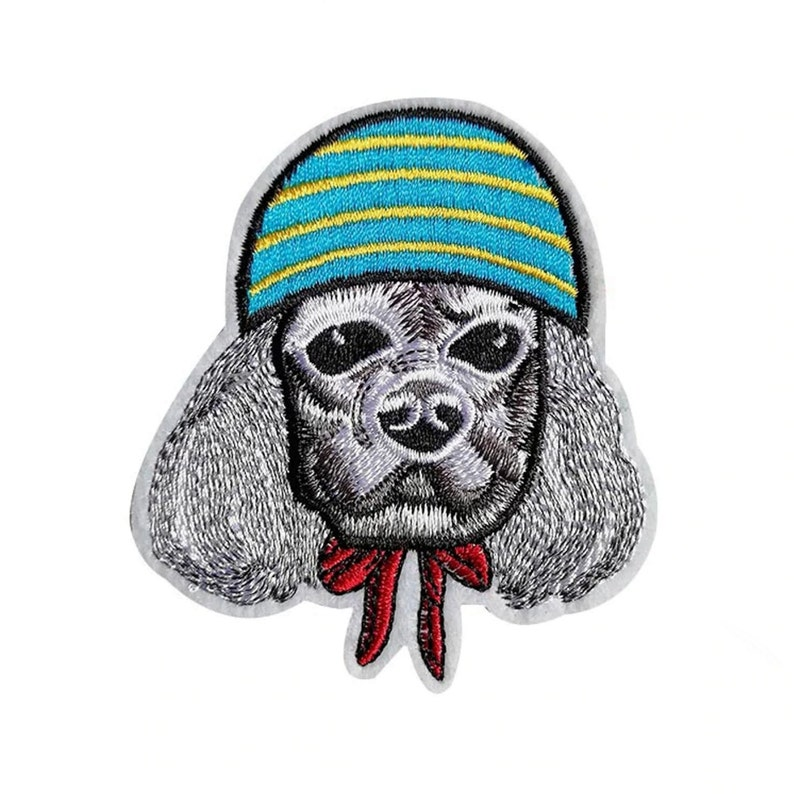 Dog Wearing Hat Iron-On Patch Beanie Poodle Neck Bow Tie Dressed Up