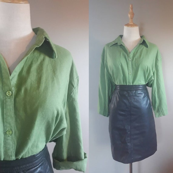 Forest Green Linen Blouse