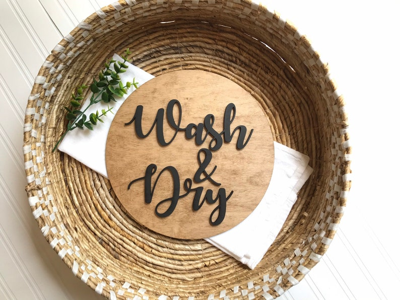 Beautiful 3D Laundry Room Sign  Wash and Dry  Farmhouse image 0