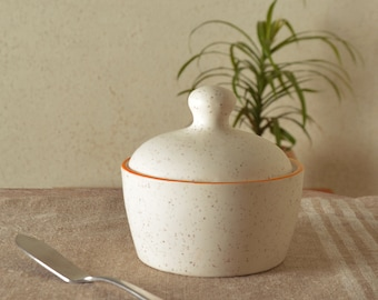 Stylemyway Handcrafted White Orange  Butter Pot With Lid In Ceramic