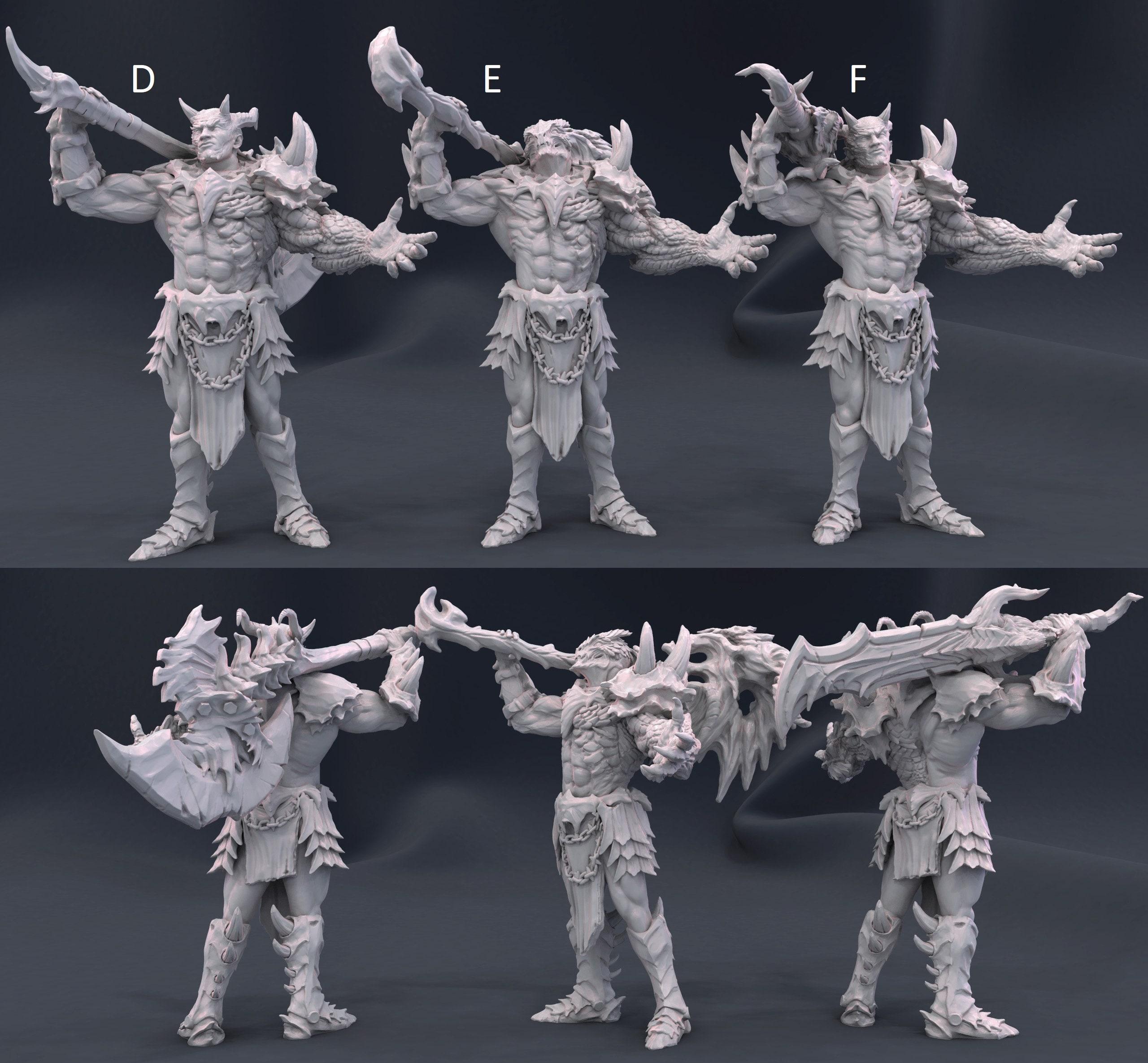 Dragonborn! Half Dragons! Half Demon! Barbarian! Resin