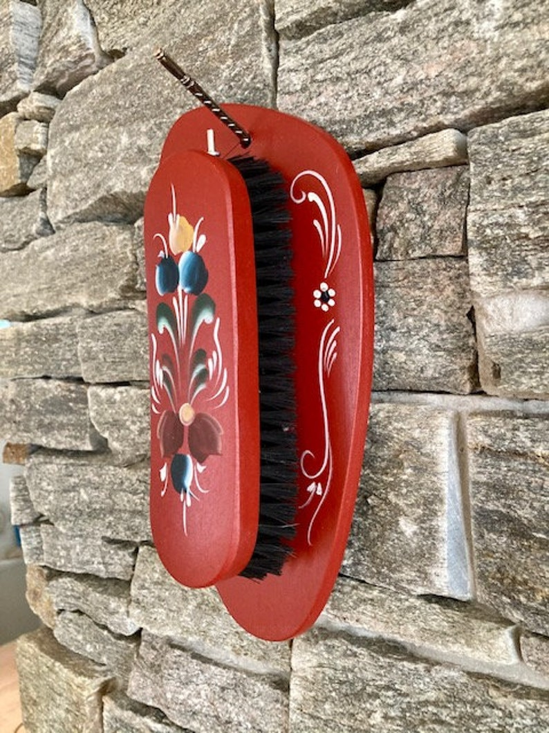 country house farmhouse decoration set Wooden Nordic Clothes Brush Holder Rosemaling,Entryway Organization Shoes,Norwegian Folk Art