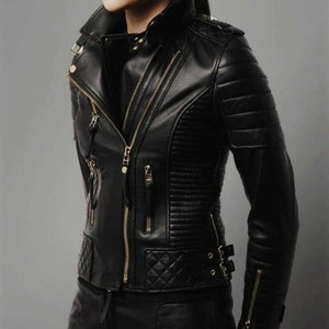 Kishi Women leather Biker jacket fully stud on sleeve