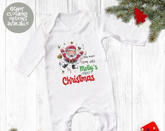 Personalised First Christmas Santa Babygrow, T Shirt, Bodysuit, Onesie, Sleepsuit, My, 1st, Xmas, Baby Clothing, Cute,
