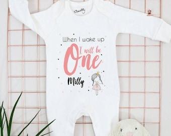 Personalised Girls Birthday Eve Babygrow, T Shirt, Bodysuit, Vest, Onesie, Sleepsuit, Romper, Baby, 1st, First Birthday, PJs, Pyjamas