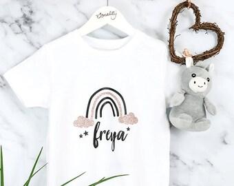 Personalised Rainbow T Shirt, Baby Grow, Bodysuit, Vest, Onesie, Sleepsuit, Romper, Kids, Baby, Girls, Birthday Gift, Toddler, Glitter