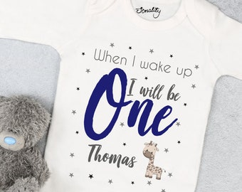 Personalised Boys Birthday Eve Babygrow, T Shirt, Bodysuit, Vest, Onesie, Sleepsuit, Romper, Baby, 1st, First Birthday, PJs, Pyjamas