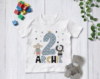 Personalised Birthday T Shirt, Boys Clothing, 1st  / First Birthday, Gift, Theme, Kids, Zoo, Safari, Lion, Monkey,