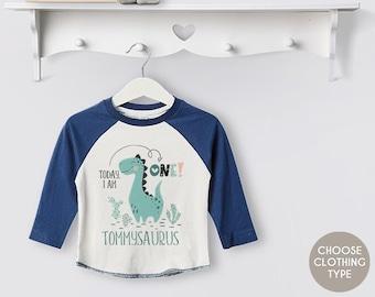 Personalised Boys Dino Birthday Baseball Tee, T Shirt, Boys Clothing, 1st / First Birthday, Dinosaur, Gift, Theme, Gift, Blue, Today I Am...