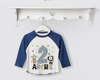 Personalised Animal Theme Birthday Baseball Tee, Boys Clothing, 1st / First Birthday, Gift, Theme, Kids, Zoo, Safari, Lion, Monkey, T Shirt