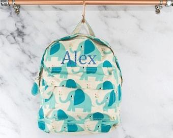 Personalised Baby and Toddler Elephant Backpack, Kids Mini Backpack, School Bag, Rucksack, Nursery, Animals, Jungle, Boys, Blue,