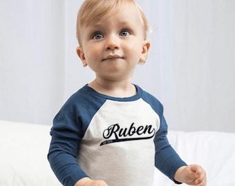 Personalised Baseball Top, T Shirt, Kids, Raglan Sleeves, Long Sleeve Top, Birthday Gift, Kids Clothing, Boys, Baby