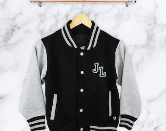 Personalised Children's Varsity Jacket, Bomber, Baseball. Kids, Childrens, Clothing, Hoddie, Gift, Cool, Stylish, American, Collage, Black