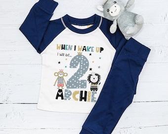 Personalised Animal Birthday Eve Pyjamas, PJ's, When I wake up I will be..., Lion, Monkey, Animal Theme, Safari, Boys, 1st, First Birthday