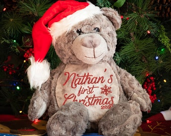 Personalised First Christmas Teddy Bear, My First Christmas, First Christmas Keepsake, Soft Toy, Teddy with With Santa Hat, Grey Teddy Bear