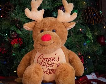 Personalised First Christmas Rudolph Reindeer, My First Christmas, First Christmas Keepsake, Soft Toy, Reindeer,