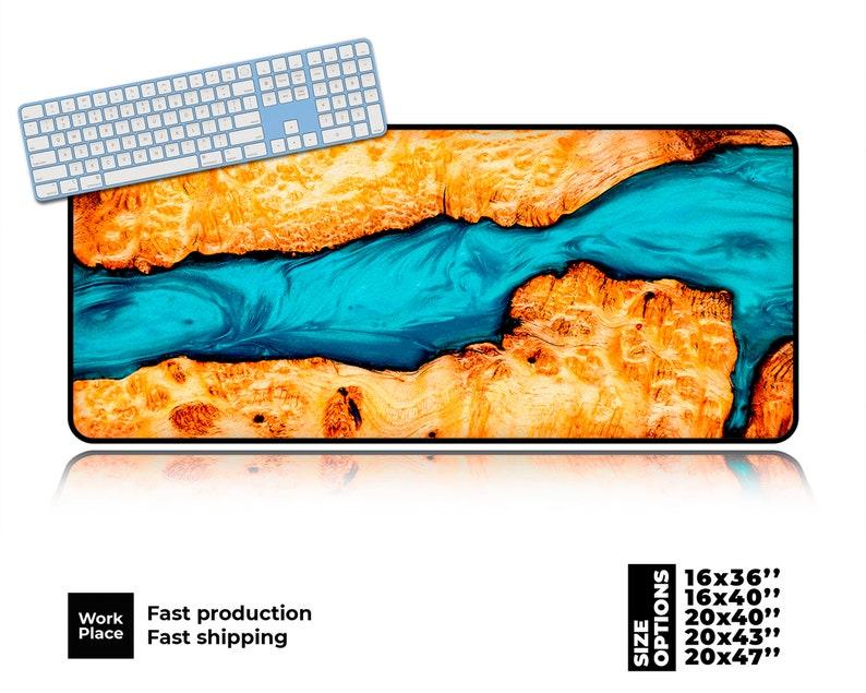 Epoxy Resin Desk Mat Petrified Wood mouse pad Mouse pads image 0