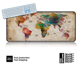 World Map Desk Mat, Shabby Chic Mouse pad, Mouse pads, Large mouse pad, Desk decor, Desk pad, Large desk pad, Place mats, Mousepad